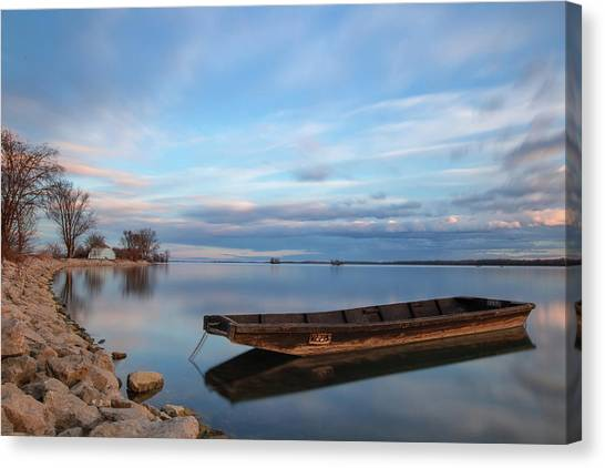 Canvas Print featuring the photograph On The Shore Of The Lake by Davor Zerjav