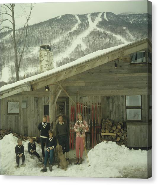 On The Slopes In Stowe Canvas Print by Slim Aarons