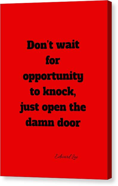 Open The Door      Black On Red Canvas Print