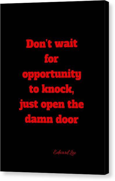Open The Door     Red On Black Canvas Print