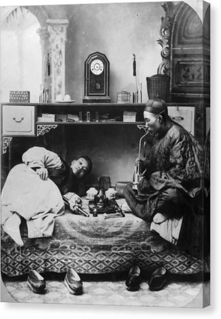 Opium Smokers Canvas Print by Hulton Archive