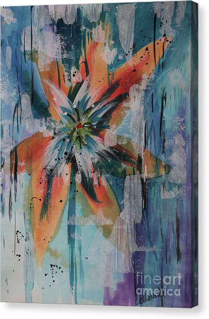 Canvas Print - Orange Abstract Lily  by Cathy Beharriell