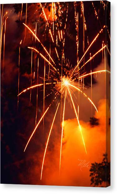 Orange Fireworks Canvas Print