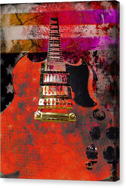 Orange Electric Guitar And American Flag Canvas Print
