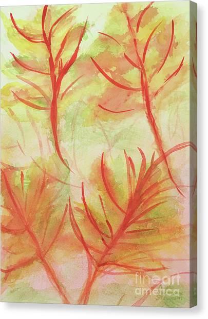 Orange Fanciful Leaves Canvas Print