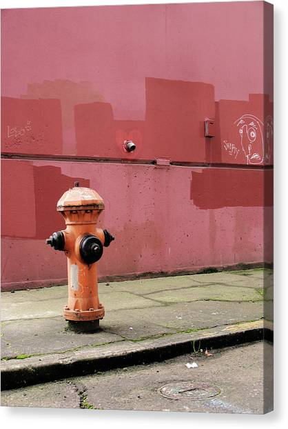 Orange Fire Hydrant With Pink And Red Canvas Print