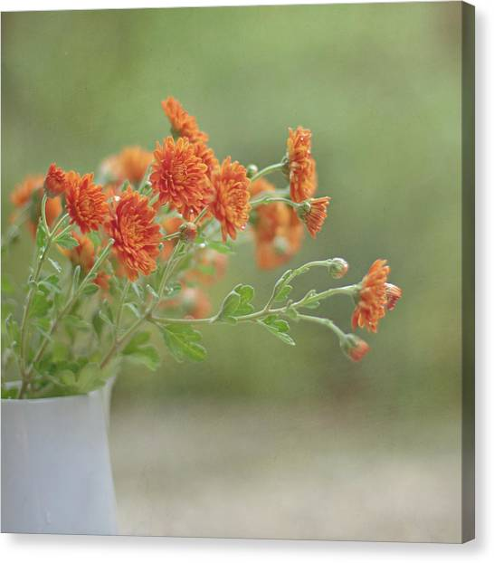 Vase Of Flowers Canvas Print - Orange Flower by Pamela N. Martin