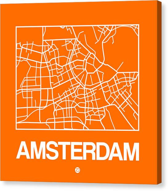 Holland Canvas Print - Orange Map Of Amsterdam by Naxart Studio