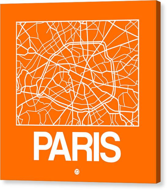 French Canvas Print - Orange Map Of Paris by Naxart Studio
