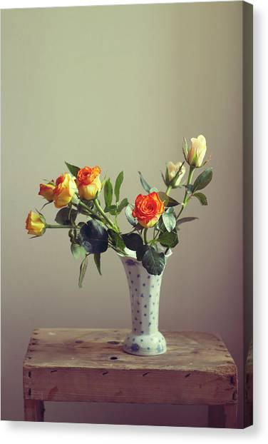 Vase Of Flowers Canvas Print - Orange Roses In Vintage Vase by Copyright Anna Nemoy(xaomena)