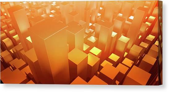 Orange Three Dimensional Rectangular Canvas Print by Ralf Hiemisch