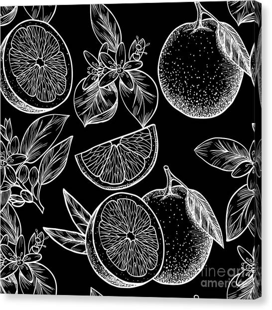 Tropical Plant Canvas Print - Oranges  And Flowers. Vector Seamless by Rina Oshi