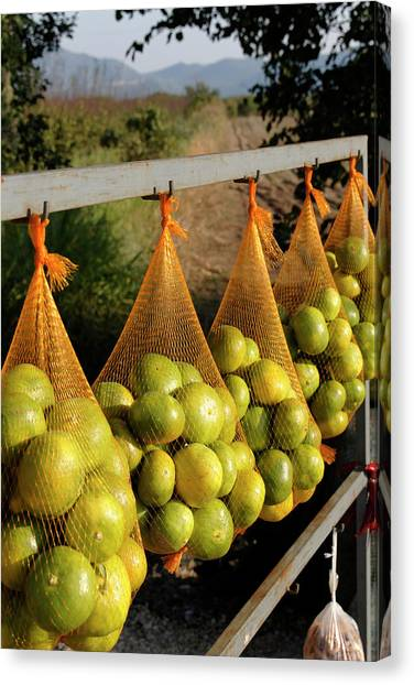 Fleas Canvas Print - Oranges For Sale At Market Stall By by Henryk T. Kaiser