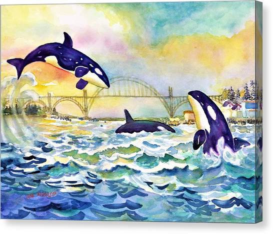Orcas In Yaquina Bay Canvas Print