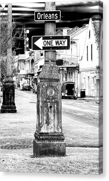 Orleans Street One Way Sign Canvas Print