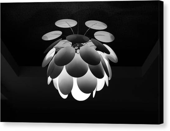Canvas Print featuring the photograph Ornamental Ceiling Light Fixture - Grayscale by Debi Dalio