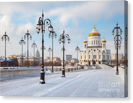 Russian Blue Canvas Print - Orthodox Church Of Christ The Savior In by Chamille White