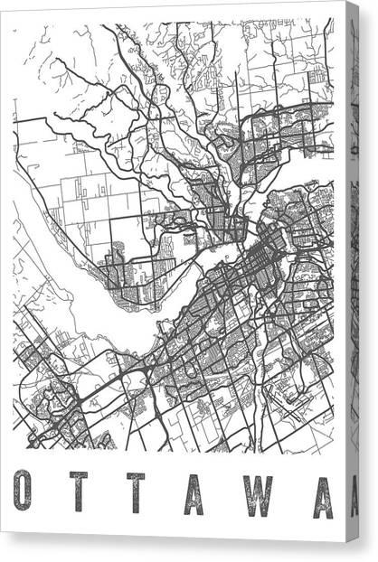 Ottawa Canvas Print - Ottawa Canada Street Map - Caow01 by Aged Pixel
