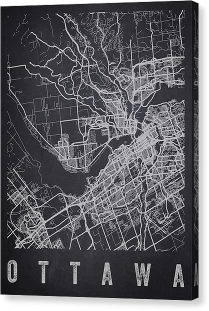 Ottawa Canvas Print - Ottawa Canada Street Map - Caow02 by Aged Pixel
