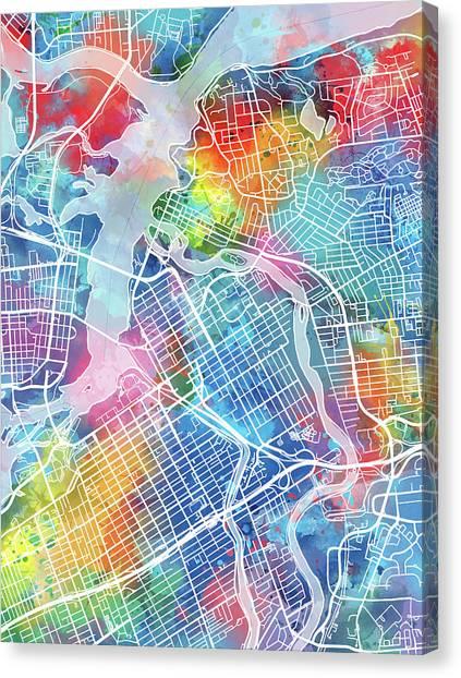 Ottawa Canvas Print - Ottawa Map Watercolor by Bekim Art