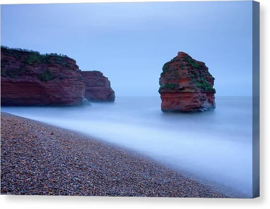 Cliff Burton Canvas Print - Otterton Sandstone Cliffs And Seastack by Adam Burton