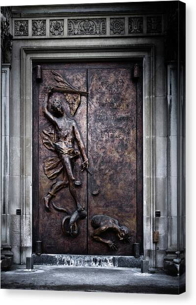 Canvas Print featuring the photograph Our Lady Of Sorrows Doorway Color Version by Brian Carson
