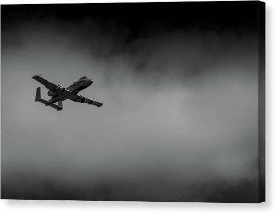 Out Of The Clouds - A-10c Thunderbolt Canvas Print