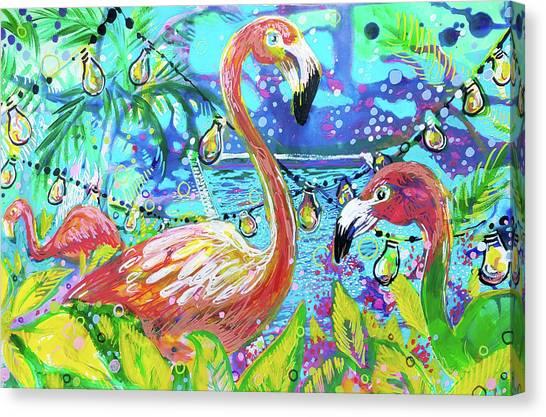 Outdoor Flamingo Party Canvas Print