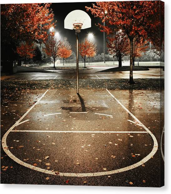 Outdoors Basketball Court, Night Canvas Print
