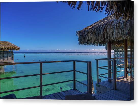 Snorkling Canvas Print - Over The Water Bungalow French Polynesia by Scott McGuire
