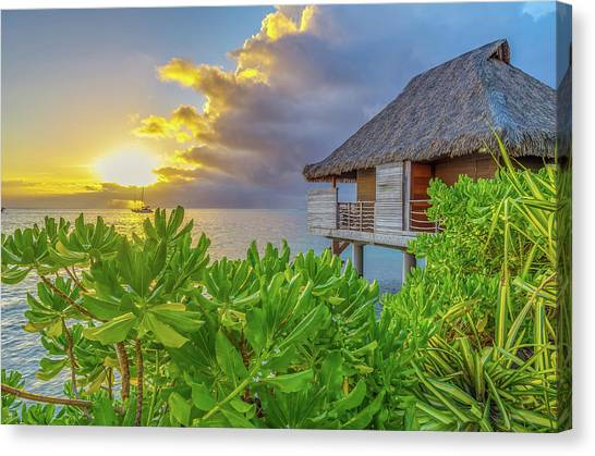Snorkling Canvas Print - Over The Water Bungalow Tahiti French Polynesia by Scott McGuire