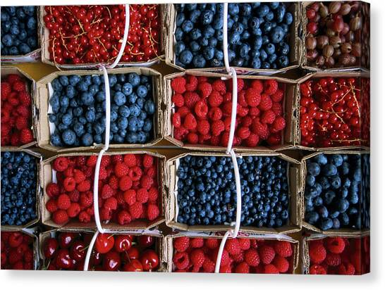 Overhead Of Punnets Of Berries, Jean Canvas Print