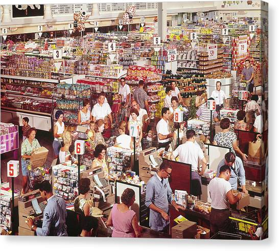 Casual Canvas Print - Overhead Of Stacked Shelves Of Food At S by John Dominis