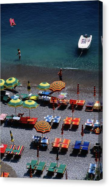 Overhead Of Unmbrellas, Deck Chairs At Canvas Print