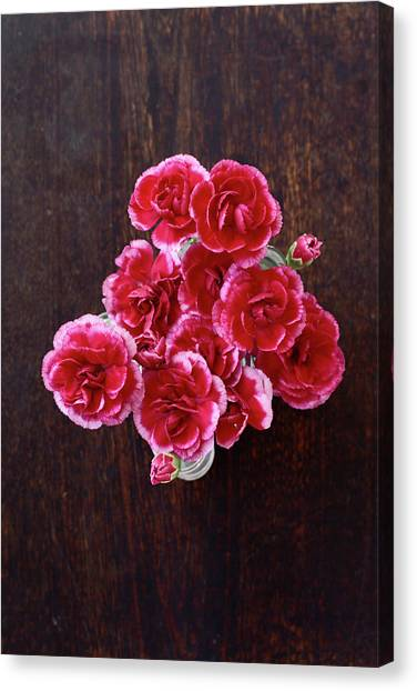 Vase Of Flowers Canvas Print - Overhead View Of Flowers by Fumie Kobayashi