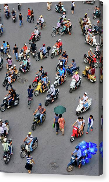 Overhead View Of Motorbike Traffic Canvas Print by Rwp Uk