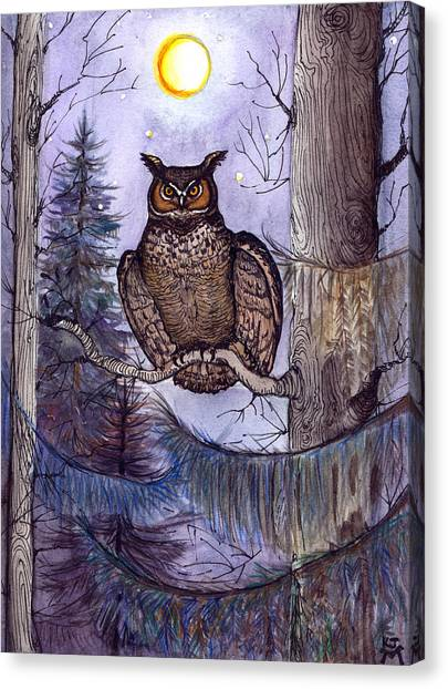 Owl Amid The Evergreen Canvas Print