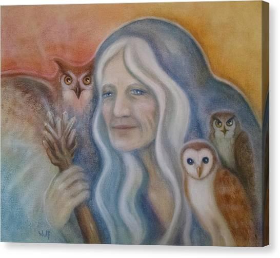 Owl Crone Canvas Print