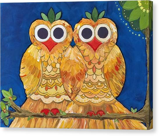 Owls On A Branch Canvas Print