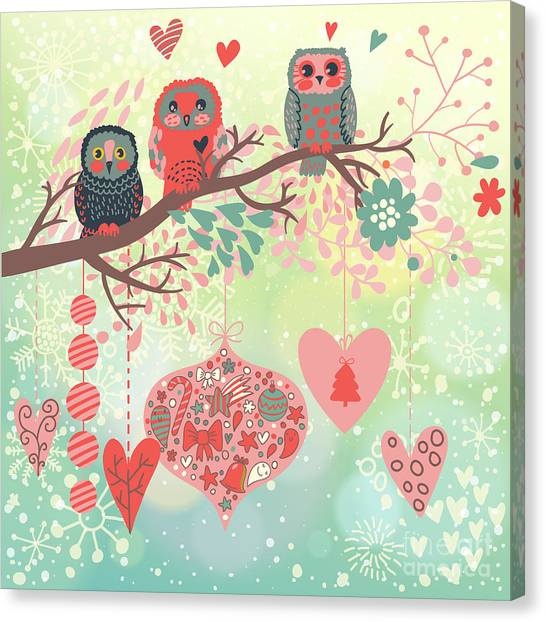 Winter Fun Canvas Print - Owls On The Branch In Leafs And Hearts by Smilewithjul
