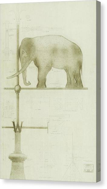 Pachyderm House, Philadelphia Zoo, Detail Of Weather Vane Canvas Print
