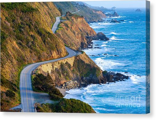 Pacific Canvas Print - Pacific Coast Highway Highway 1 At by Doug Meek