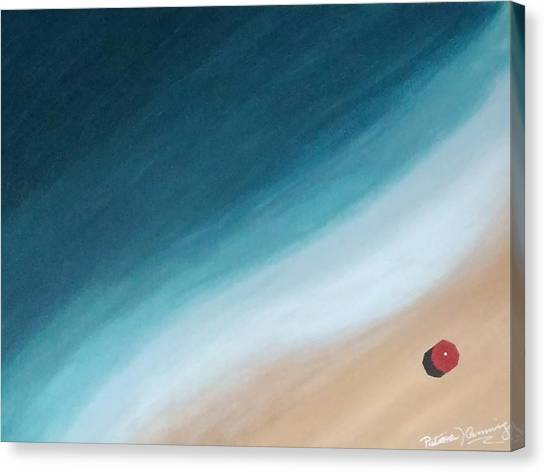 Pacific Ocean And Red Umbrella Canvas Print