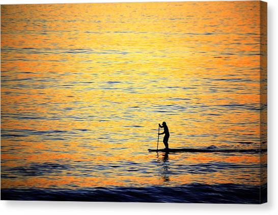 Canvas Print featuring the photograph Paddle Boarder Malibu by John Rodrigues