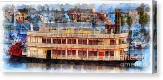 Mission San Diego Canvas Print - Paddlewheel San Diego Mission Bay by Edward Fielding