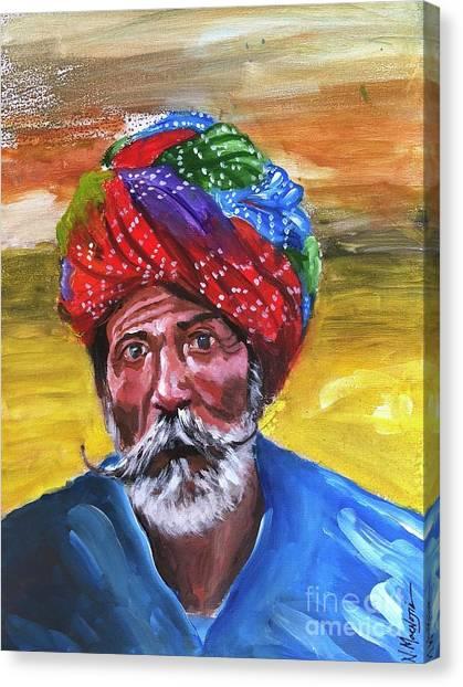 Canvas Print featuring the painting Pagdi by Nizar MacNojia