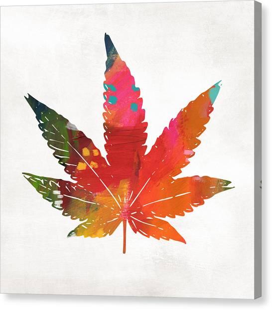 Social Canvas Print - Painted Cannabis Leaf 1- Art By Linda Woods by Linda Woods