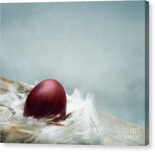 Easter Eggs Canvas Print - Painted Red Easter Egg In Bird Feather Nest Over Vintage Blue Ar by Jelena Jovanovic