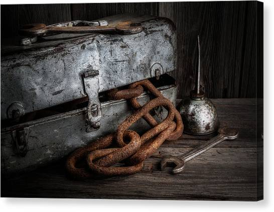 Tool Canvas Print - Painted Toolbox And Chain by Tom Mc Nemar