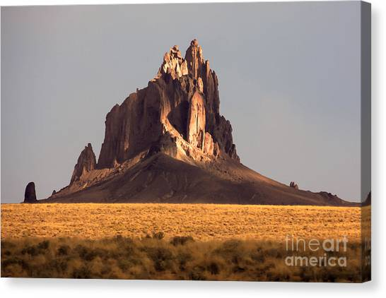 Monument Canvas Print - Painting Like Picture Of Shiprock In by Martina Roth